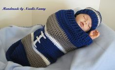 Dallas Cowboy Baby Cocoon Football Cocoon & Hat Crochet Cocoon Childrens Clothing Photo Prop Halloween Costume… i would make this for salma Cowboy Crochet, Crochet Bebe, Crochet For Kids, Knit Crochet, Crochet Hats, Crochet Things, Dallas Cowboys Baby Clothes, Cowboy Baby Clothes, Babies Clothes