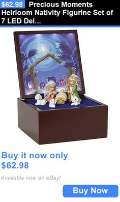 Cherished Teddies Christmas: Precious Moments Heirloom Nativity Figurine Set Of 7 Led Deluxe Wooden Music Box BUY IT NOW ONLY: $62.98