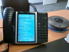 Your Twitter feed right on your office phone.  Great for sales and marketing professionals.  The Mitel 5300-series of IP phones.