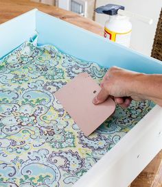 Looking for painted furniture ideas? You will love this colorful dresser drawer makeover. It takes painted furniture up a few notches on style meter. Lining Dresser Drawers, Decoupage Drawers, Decoupage Furniture, Refurbished Furniture, Paint Furniture, Repurposed Furniture, Furniture Projects, Furniture Makeover, Furniture Stores