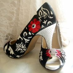 Wow hand painted, not sure about the crystals on the heels