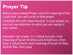 Prayer tip for khushu Sponsor a poor child learn Quran with $10, go to FundRaising http://www.ummaland.com/s/hpnd2z