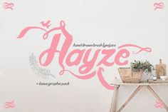 Hayze Typeface Hayze is a hand drawn typeface using ink and brush. Brought to complete your sweet and romantic design. The typeface is great for invitations, quotes, headings, t-shirt,