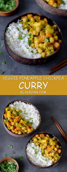 Veggie curry with fresh vegetables, pineapple and chickpeas. Healthy comfort food which is easy to make, vegan, gluten free, oil free and delicious - recipe on pinterest