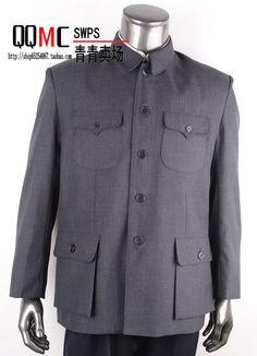 男装老式中山装 中老年中山装上衣中华立领中山装外套爸爸装特价-淘宝网 Vintage Mao Suit