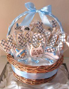 blue baby boy cookie basket