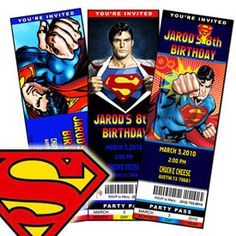 superman theme birthday party  | SupermanMovie Birthday Party Ticket Invitations!