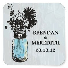 Rustic Blue Mason Jars with Wildflowers Stickers