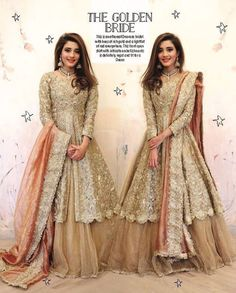 This is an ethereal Omorose bridal. Hues of rich gold and a tint of red everywhere. This front open shirt with mesmerizing embellishment is definitely regal and fits for a Queen Indian Wedding Gowns, Pakistani Wedding Outfits, Indian Bridal Outfits, Pakistani Wedding Dresses, Indian Dresses, Indian Clothes, Function Dresses, Walima Dress, Pakistani Couture