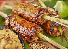 Chicken and pork satay sticks