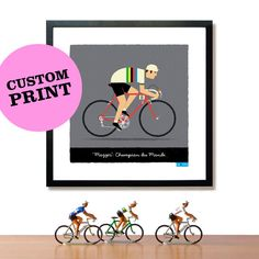 If I ever get Steve a gift -  or if Shawn goes for some marathons! PERSONALISED Cycling Art Print: Customisable Name, Race Number, Hair, Eye and Bike Colour