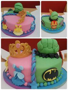 Half superhero half princess twin birthday cake