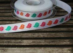 2 yards of  Bird print bright coloured satin ribbon by scratchycat, $2.20
