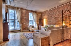 St. Lawrence Market Lofts – Unit #308 | Toronto LOFTS | Character galore in this large, open concept 1230 sf 1 bedroom + den authentic loft with original exposed brick walls, high ceilings & hardwood floors – right beside the St. Lawrence Market! Steps to Yonge subway & Financial District. | torontolofts.ca | info@torontolofts.ca Toronto Lofts, Centre Island, Warehouse Loft, Hardwood Floors, Flooring, Exposed Brick Walls, Open Concept, St Lawrence, The Unit