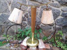 Mid century lamp original Fiberglass shades by vintagepurveier, $135.00