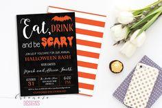 Eat Drink and Be Scary Halloween Invitation Black White Orange Halloween Invite…