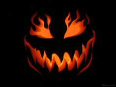 Jack-o-Lantern with flames. Love the fire.