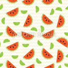 Watermelon and Lemon Design Pattern Design Pattern by Elena Alimpieva at patterndesigns.com