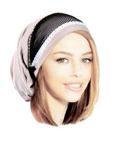 Taupe Black Head Scarf Boho Pre Tied Bandana Head by ShariRoseShop