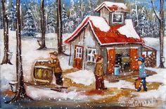 Christine Genest, Le tonneau est plein! 5X7 Country Art, Belle Photo, Christmas Home, Oeuvre D'art, Painting Inspiration, Illustrations, Folk Art, Building A House, Fairy Tales