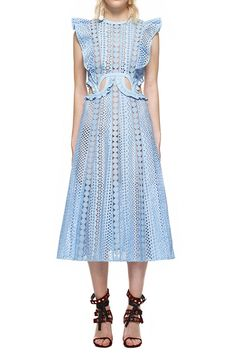 f6a425737d5e self portrait embroidered cutout midi dress, the dress featured with frill  shoulder frames, embroidered cutouts, sheer lace trim inserts.