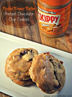 Frosted Peanut Butter Pretzel Chocolate Chip Cookies