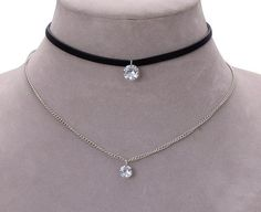 Crystal Charm Silver Chain Double Choker Necklace
