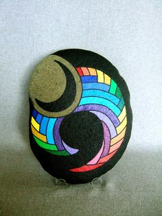 Colorful Handpainted Rock, a unique 3-d work of art. $350.00, via Etsy.