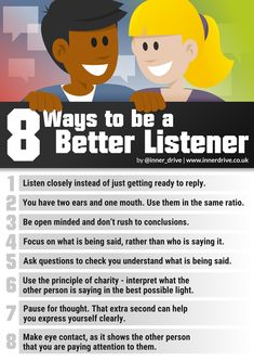Hearing what someone is saying and really listening to them are different. These simple strategies based on research can help you become a better listener. Self Development, Personal Development, Life Skills, Life Lessons, Good Listening Skills, Good Communication Skills, Good Listener, Self Improvement Tips, Emotional Intelligence