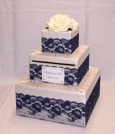 Elegant Custom Made Wedding Card Box-Lace design