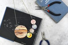 Jupiter and Galilean Moons Statement Necklace by Rosebud Casson.