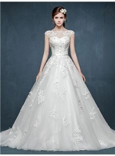 双肩レースの着心地最高の新作ロングドレス ウェディングドレス 花嫁ドレス