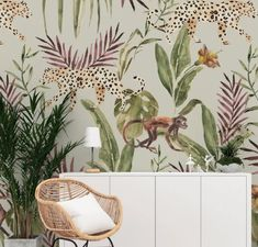 WALLPAPER - ANNET WEELINK DESIGNThis unique print is hand painted by Annet and printed on wallpaper. Material:Available as non-woven wallpaper or vinyl wallpaper. Jungle Wallpaper, Monkey Wallpaper, Normal Wallpaper, Wallpaper Size, Vinyl Wallpaper, Handmade Wallpaper, Jungle Room, Watercolor Wallpaper, Monkey Business