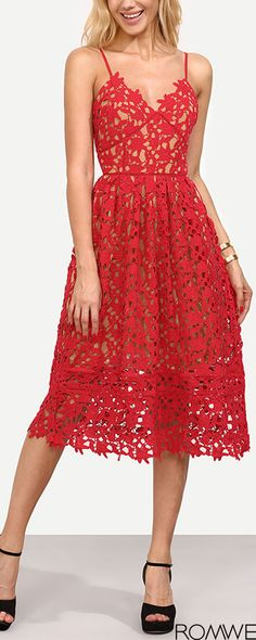 Shop Red Hollow Out Fit & Flare Lace Cami Dress online. SheIn offers Red Hollow Out Fit & Flare Lace Cami Dress & more to fit your fashionable… Sheer Lace Dress, Lace Camisole, Costume, Latest Dress, Up Girl, Dress P, Dress Clothes, Skater Dress, Bodycon Dress