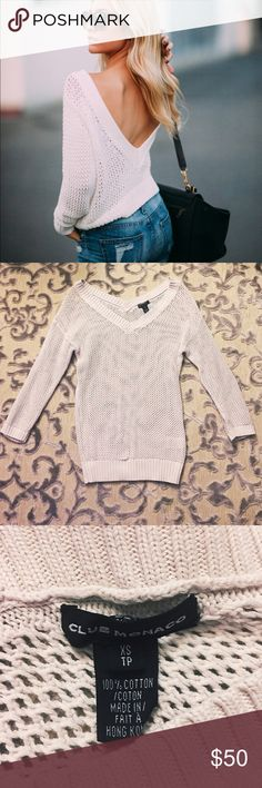 {Club Monaco} Open Knit Sweater Club Monaco White Open Knit V-Back Sweater  Size XS Good condition (no stains or visible flaws)  *Covershot is not of the actual sweater Club Monaco Sweaters V-Necks