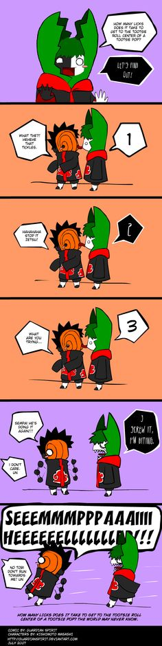 "Naruto Shippuden » Humor » Comic | ""How many licks does it take to get to the tootsie roll center of a tootsie pop? Let's find out!"" 