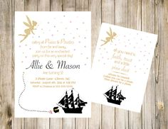 Pixie and Pirate Birthday Invitation Printable Invite DIY Digital 5x7 JPG File First 1st Front Back Party Treasure Ship Fairy Gold Glitter by clsprints on Etsy