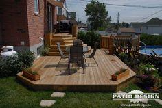 Patio et piscine 048 Composite Decking, Deck Design, Decks, Terrace, Building A House, New Homes, Decor Ideas, Backyard, Wood
