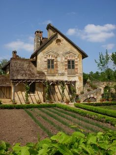 Because she was raised in the country the King had a country house made for her to feel at home when she was overwhelmed at Court. Very charming iFrench Farmhouse built by Marie Antoinette way out in the back acreage of Versaille.... c'est magnifique!!!