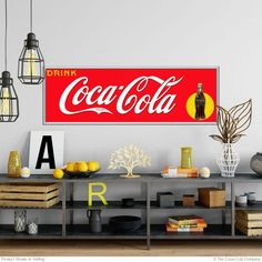 Decorating with Coca-Cola wall decals brings a vintage look to your kitchen or restaurant decor. Our Coke wall decals are an affordable alternative to vintage Coke signs, are removable, and won't damage walls. Coca Cola Gifts, Coca Cola Decor, Stick Wall Art, Distressed Walls, 1950s Decor, Vintage Coke, Removable Wall Stickers, Soda Fountain, Wall Decals