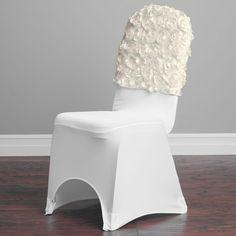 Satin Banquet Rosette Chair Cap Ivory