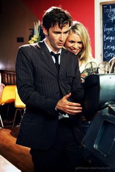 The 10th Doctor, David Tennant, aka my beloved babydaddy, and Billie Piper as Rose.  Dream lovers, best pairing ever.