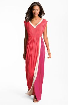 FELICITY & COCO Contrast Trim Colorblock Jersey Maxi Dress | Nordstrom