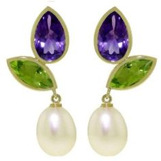14k Solid Gold Dangle Earrings with Amethysts, Peridots and Pearls--not big into jewelry, especially expensive jewelry, but these are gorgeous