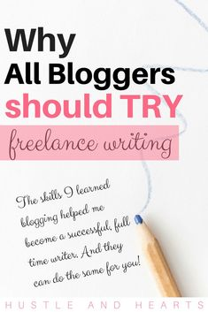 I make a full time career from my freelance writing. I get to set my own schedule, make money online, and work from home. Discovering freelance writing has been a game changer in my life, and now I want to share that with you! The skills I have acquired through blogging have definitely contributed to my success as a freelance writing, and I think they could do the same for you! Read this article to discover why I think all bloggers should try freelance writing