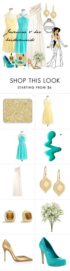 """Jasmines & her bridesmaids"" by amarie104 ❤ liked on Polyvore featuring shu uemura, Disney, J.Crew, Topshop, Georges Mak, Jamie Wolf, David Yurman, Christian Louboutin, BCBGeneration and First People First"