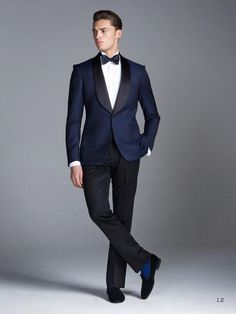 Custom made Midnight Blue Smoking Groom suits/Wedding Suits For Men/Groom Tuxedos 3 Peices Suits(Jacket+Pants+tie)