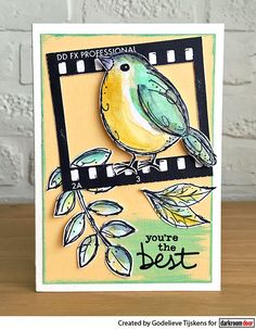 On this card I used the Film stamp from Darkroom Door and a new Garden Bird stamp, combined with some leaves. 21st Birthday Checklist, Crazy Bird, Bee Cards, Artist Trading Cards, Greeting Cards Handmade, Handmade Tags, Card Tags, Cool Cards, Tag Art