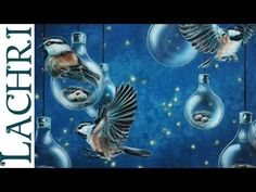 Time lapse surreal bird, lightbulb & firefly speed painting in acrylic a...