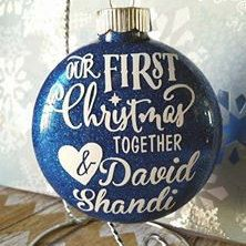 Our First Christmas Together, Couples Ornament, Blue Ornament, Boyfriend and Girlfriend Ornament, Christmas Ornament, personalized ornament